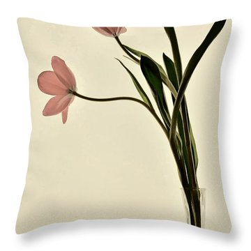 Mauve Tulips In Glass Vase Throw Pillow