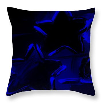 Max Two Stars In Blue Throw Pillow by Rob Hans