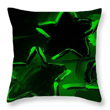 Max Two Stars In Green Throw Pillow by Rob Hans