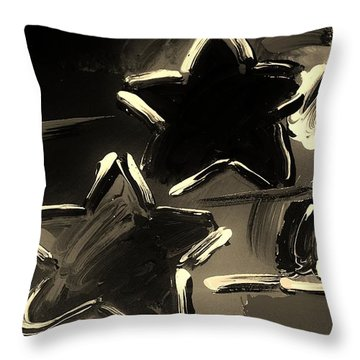 Max Two Stars In Sepia Throw Pillow by Rob Hans