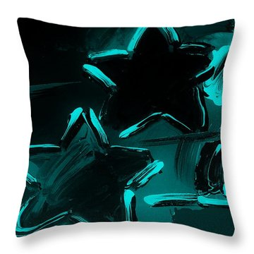 Max Two Stars In Turquois Throw Pillow by Rob Hans