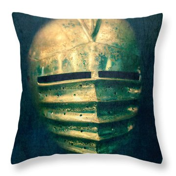 Maximilian Knights Armour Helmet Throw Pillow by Edward Fielding