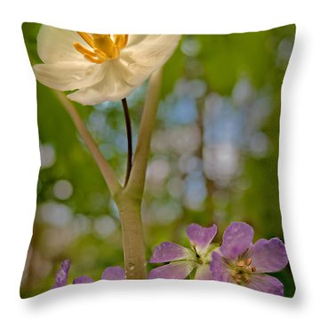 May Apples And Wild Geraniums Throw Pillow