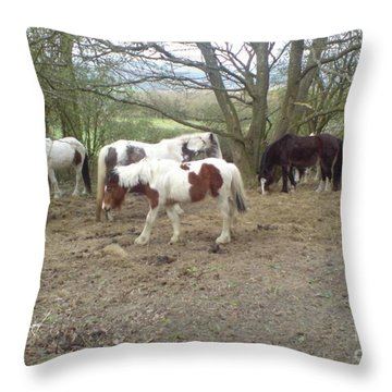Throw Pillow featuring the photograph May Hill Ponies 2 by John Williams