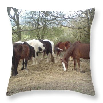 Throw Pillow featuring the photograph May Hill Ponies 3 by John Williams