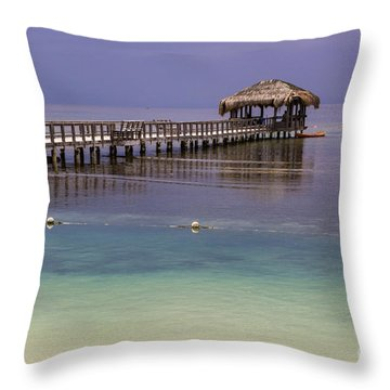 Maya Key Pier At Roatan Throw Pillow