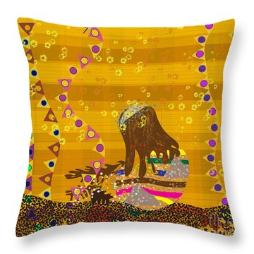 Throw Pillow featuring the digital art Maya Prays by Kim Prowse