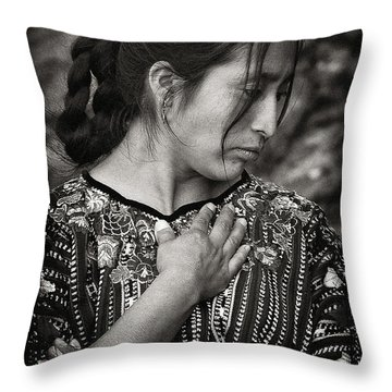 Mayan Beauty Throw Pillow by Tom Bell