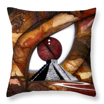 Mayan Reptile Throw Pillow by Angel Ortiz