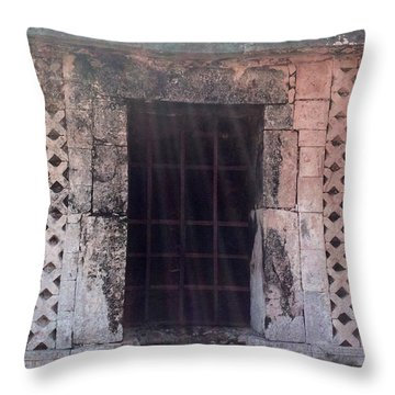 Mayan Ruins Sunlit Window Throw Pillow