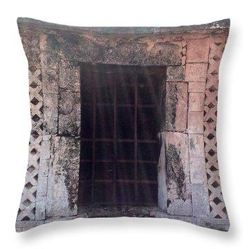 Mayan Ruins Sunlit Window Throw Pillow by Cindy Lee Longhini
