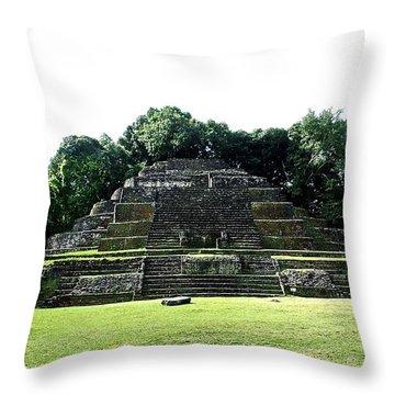Mayan Temple Belize Lamanai Throw Pillow
