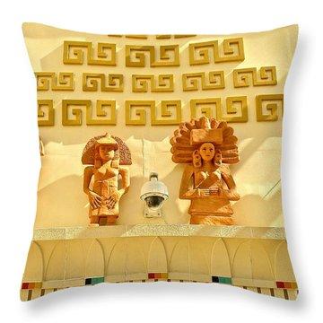 Mayans In Sculpture Throw Pillow