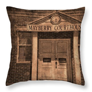 Mayberry Courthouse Throw Pillow by David Arment
