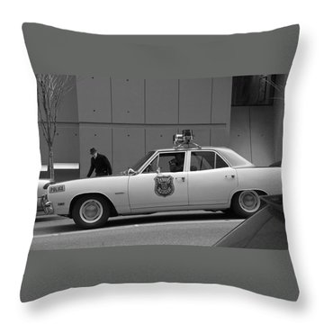 Throw Pillow featuring the photograph Mayberry Meets Seattle - Vintage Police Cruiser by Jane Eleanor Nicholas