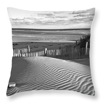 Mayflower Beach Black And White Throw Pillow