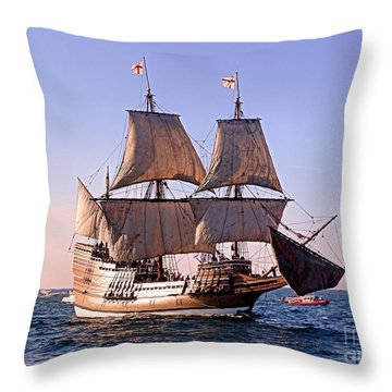Mayflower II On Her 50th Anniversary Sail Throw Pillow