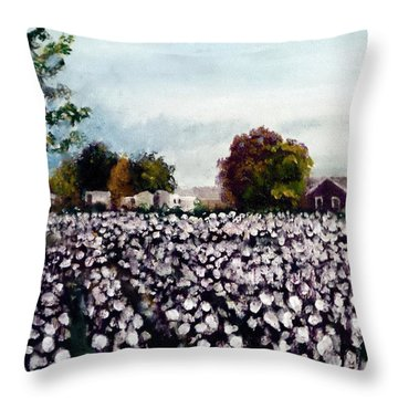 Throw Pillow featuring the painting Maysville Cotton Field by Jim Phillips