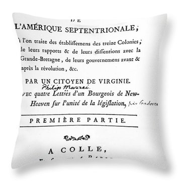 Mazzei Title Page 1788 Throw Pillow by Granger
