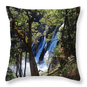 Throw Pillow featuring the photograph Mcarthur-burney Falls Side View by Debra Thompson