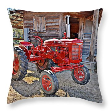 Throw Pillow featuring the photograph Mccormick Farmall by Linda Brown