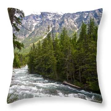 Mcdonald Creek In Glacier Np-mt Throw Pillow