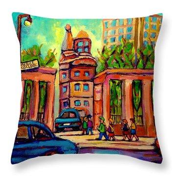 Mcgill University Roddick Gates Montreal Throw Pillow by Carole Spandau
