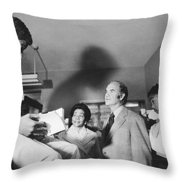 Mcgovern And Mrs. Coretta King Throw Pillow by Underwood Archives