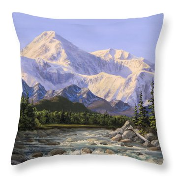 Majestic Denali Mountain Landscape - Alaska Painting - Mountains And River - Wilderness Decor Throw Pillow
