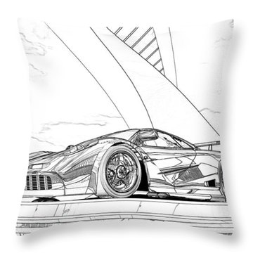Mclaren F1 Sketch Throw Pillow by Louis Ferreira