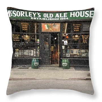 Mcsorley's Old Ale House During A Snow Storm Throw Pillow