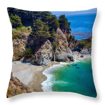 Mcway Falls At Julia Pfeiffer Burns State Park Throw Pillow