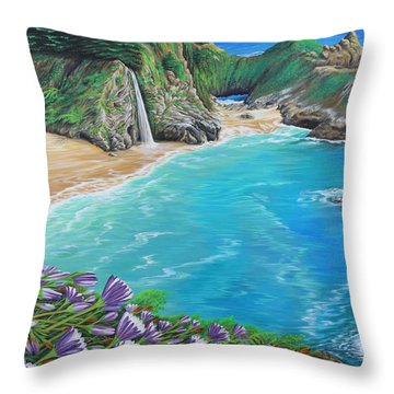 Throw Pillow featuring the painting Mcway Falls by Jane Girardot
