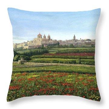 Mdina Poppies Malta Throw Pillow by Richard Harpum