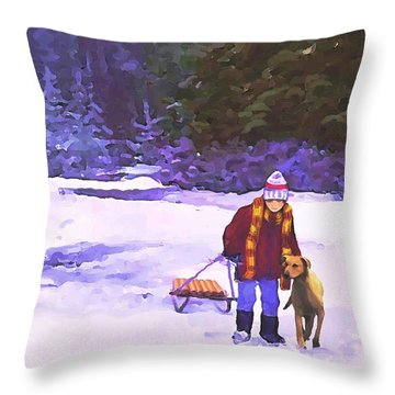 Me And My Buddy Throw Pillow by Sophia Schmierer