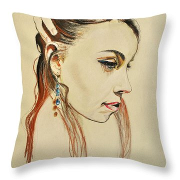 Throw Pillow featuring the drawing Me by Maja Sokolowska