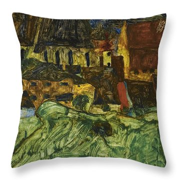 Meadow Church And Houses Throw Pillow