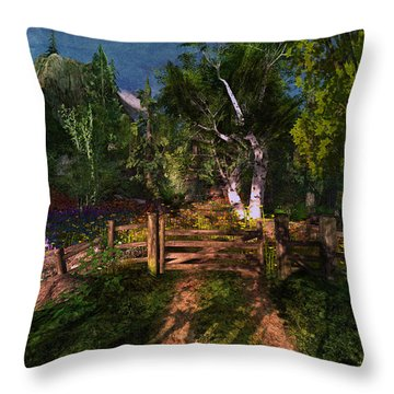 Meadow Gate Throw Pillow by Kylie Sabra