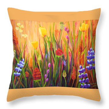Meadow Gold Throw Pillow by Nancy Jolley