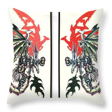Mech Dragons Collide Throw Pillow
