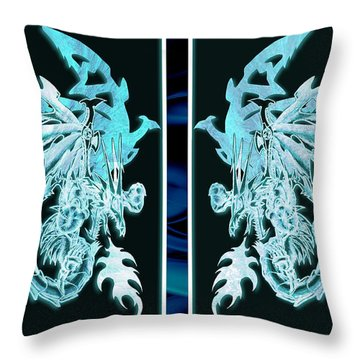 Mech Dragons Diamond Ice Crystals Throw Pillow