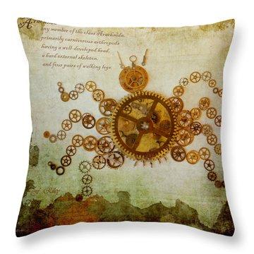Mechanical - Arachnid Throw Pillow by Fran Riley