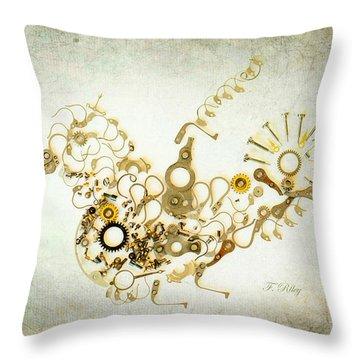 Mechanical - Bird Throw Pillow by Fran Riley