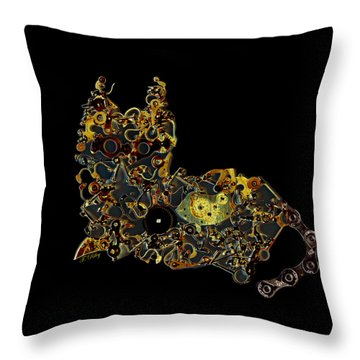 Mechanical - Cat Throw Pillow by Fran Riley