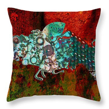 Mechanical - Fish Throw Pillow by Fran Riley