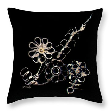 Mechanical Flowers Throw Pillow by Fran Riley