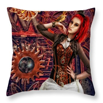 Mechanical Garden Throw Pillow by Mo T