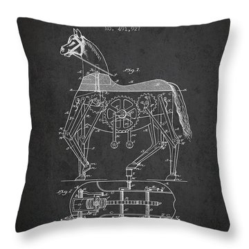 Mechanical Horse Patent Drawing From 1893 - Dark Throw Pillow by Aged Pixel