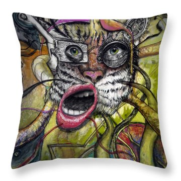 Mechanical Tiger Girl Throw Pillow by Frank Robert Dixon