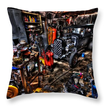 Mechanics Garage Throw Pillow